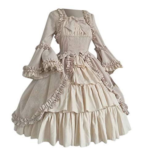 Viahwyt Ballkleid Mittelalter Kleid mit Trompetenärmel Party Kostüm Damen bodenlang Vintage Renaissance Costume Cosplay Gothic Court Patchwork Bow Kleid.(Rosa,S)