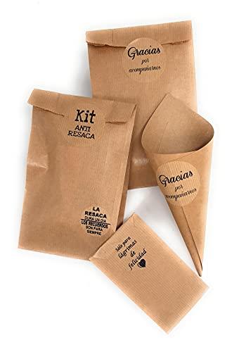 Lote completo Kraft para tu boda, Kit anti-resaca, Lagrimas de felicidad, bolsas y cucuruchos.