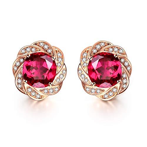 AueDsa Pendientes Oro Rosa Pendientes de Oro Rosa 18k Mujer Flor con Diamante Turmalina Roja Blanca 2.46ct