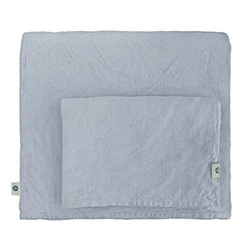 Linen & Cotton Weicher Griff Bettwäsche Set Alicia -100% Leinen Gewaschen, Hellblau Blau (140 x 200 cm) Bettbezug Bettdeckenbezug Deckenbezug Einfarbig Wendebettwäsche Bett Einzelbett Schlafzimmer