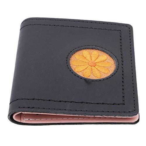 VWH Femmes Bourse Porte-Monnaie Fleurs PU Clips D'argent Passeport Couverture Embrayages Sac(noir)