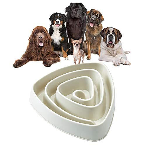 PLUS PO Anti Schling Napf Hunde Futternapf Katze Welpenfutter Wet Bowl Hundenäpfe Medium Labyrinth interaktive Katze Schüssel Slow Feeder Fressnapf White