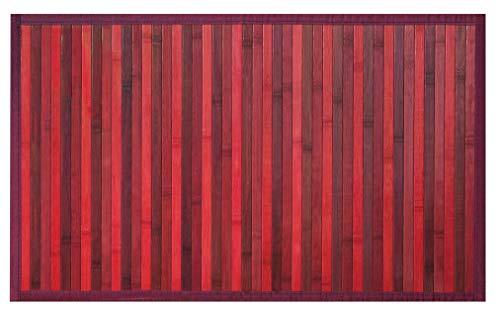 Olivo Tappeti Tappeto Bordato bambù Bamboo in Vari Colori E Misure Fondo Antiscivolo (Rosso, 50X130)