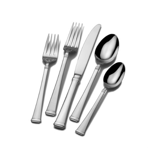 Mikasa 5060761 Harmony 65-Piece 18/10 Stainless Steel Flatware Set with Serving Utensil Set, Silver