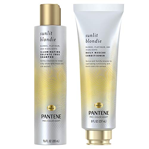 Pantene Sunlit Blondie Shampoo & Daily Rescue Conditioner Hair Treatment, with Bioton, Sulfate Free, Bundle