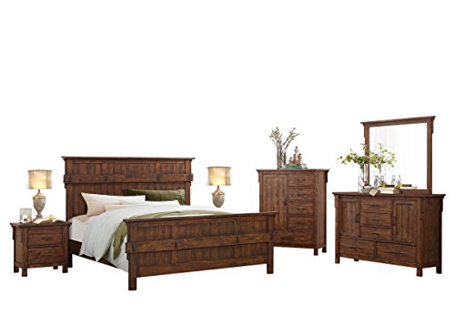 HEFX Thomasville 4 Piece California King Rustic Burnished Oak Bedroom Set - Bed, Nightstand, Dresser & Mirror
