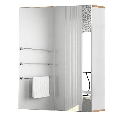 kleankin Specchio Contenitore Bagno, Pensile Bagno in Legno Bianco e Rovere, Mobile Salvaspazio 60x20.5x75cm