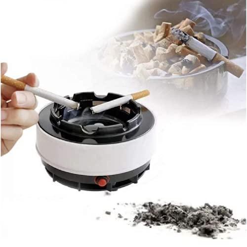 Cenicero sin humo, purificador de aire sin humo, ceniceros portátiles para cigarrillos a prueba de olor con cigarrillos, puros, cigarros, pipas y más (blanco)