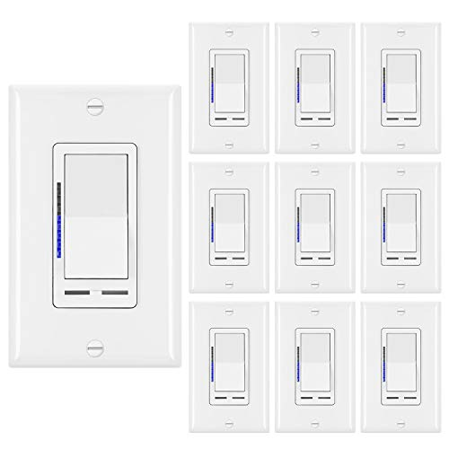[10 Pack] BESTTEN Digital Dimmer Light Switch with LED Indicator, Horizontal Dimming Slider Bar, Single Pole or 3-Way, for Dimmable LED Lights, CFL, Incandescent, Halogen Bulbs, UL Listed, White