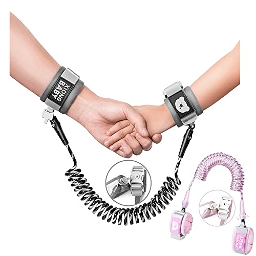 Anti-Lost Wrist Link, Outdoor Harness for Children. (Black and Light Pink)