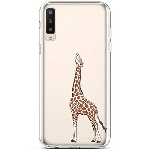 Jinghuash Compatibel met Galaxy A50 Case Transparant TPU Siliconen met patroon Giraffe