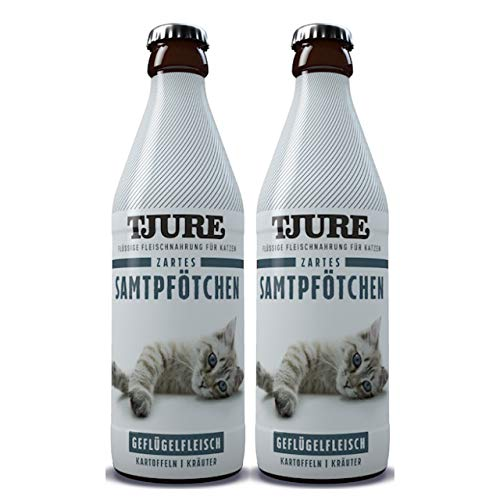 Tjure - Flüssigfleischnahrung Zartes Samtpfötchen Doppelpack | Die Spezialnahrung für nierenkranke Katzen | Lebensmittelqualität
