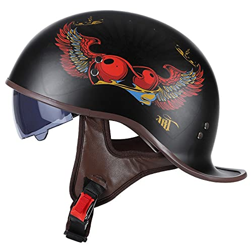 Vintage Casco De Motocicleta,con Visera Cascos Abiertos de Moto Casco Moto Jet ECE Homologado Half-Helmet,para Hombres/Mujeres Adultos Medio Casco F,XL 59-60