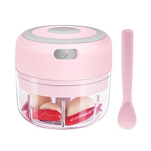 Electric Mini Garlic Chopper [Portable, Wireless, 100ml] Mini Electric Chopper with Spoon, Electric Food Chopper Tool, Mini Chopper for Mashing Onion, Garlic, Chili, Peppers, Nuts(Pink)