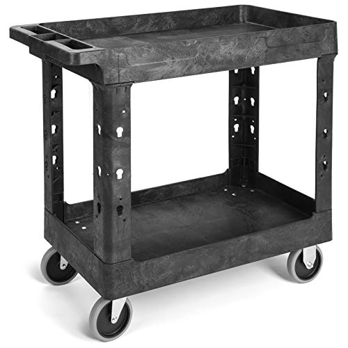 Pipishell Work Cart Tub Storage 34 x 17 Inch - Heavy Duty Utility Cart with Wheels Safely Holds up to 500 lbs - 2 Tier Black Service Cart Ideal for Warehouse, Garage, Cleaning, Manufacturing