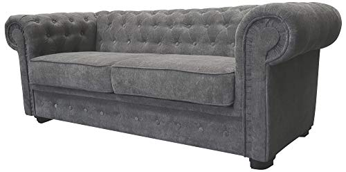 Chesterfield Style Corner Sofa Set 3+2 Seater Armchair Grey Fabric (3 Seater)