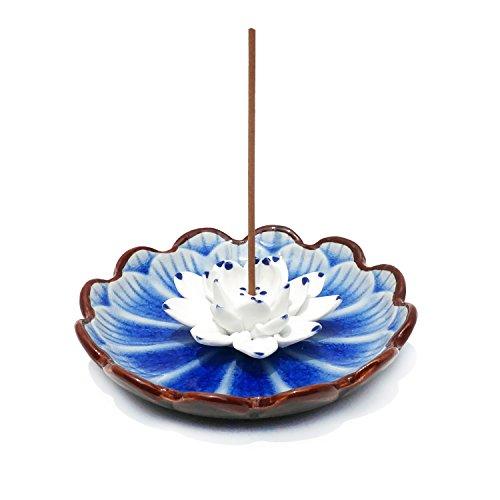 Räucherstäbchenhalter aus Keramik Porzellan Asiatisch Räucher-Zubehör Lotos Blume, Räucherschale Halter zum Räuchern von Räucherstäbchen