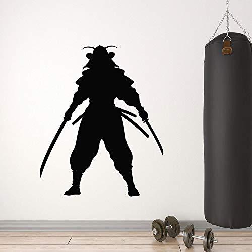 wZUN Japanische Krieger Wandaufkleber Samurai Fighting Katana Silhouette Vinyl Aufkleber Schlafzimmer Fitnessstudio Dekoration Wandbild 50X61cm