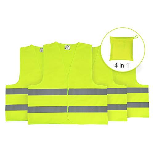 Warnwesten Auto Sicherheitsweste Reflektierende Pannenweste für Erwachsene, EN ISO 20471, Gelb, 4 Stück, KFZ