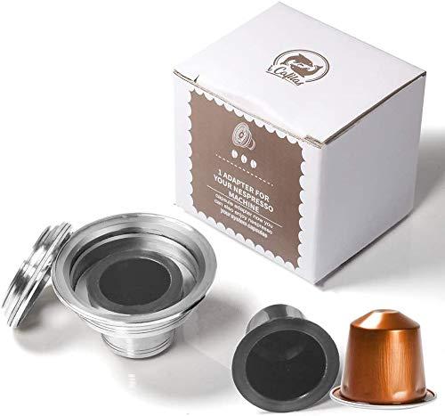 Adaptateur de dosettes de café réutilisable en acier inoxydable pour machine à expresso compatible avec Nespresso Vertuo ENV135 GCA1