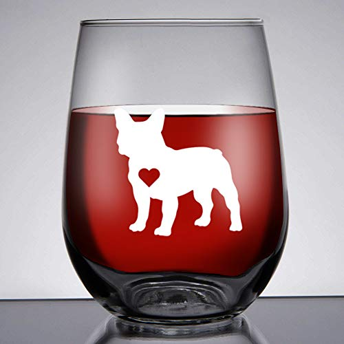 French Bulldog Gifts/Frenchie Gifts for women Large 15 oz Libbey Stemless French Bulldog Lovers Wine Glass/Best Frenchie Gifts