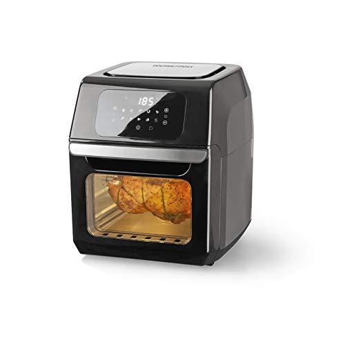 GOURMETmaxx Digitale XXL Heißluftfritteuse 12 Liter   Mit 10 Programmen, Zubehör ist spülmaschinengeeignet, größeres Sichtfenster   Edelstahl Design [1.800 Watt/Schwarz]