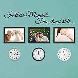 BATTOO in These Moments time Stood Still Vinyl Wall Decal- in These Moments Decal- Family Decals Quote(Black, 60 wx10.8 h)