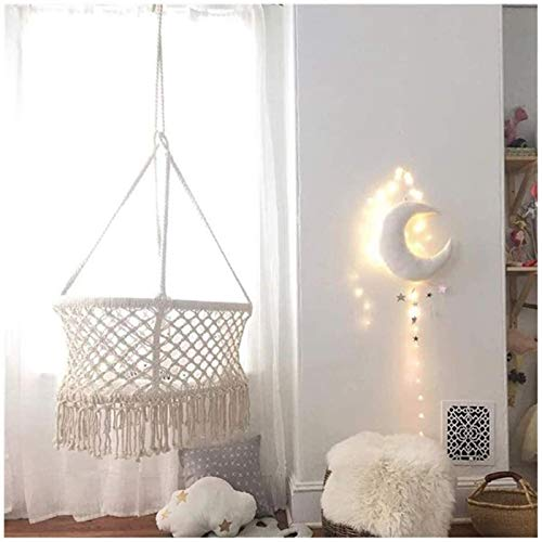 PJPPJH Hanging Crib in Macrame Hanging Hammock Baby Cribs for Infant to Toddler Cotton Rope Weaved Nursery Decor Girl Birthday Gift White 35.4 29.5 55.1in