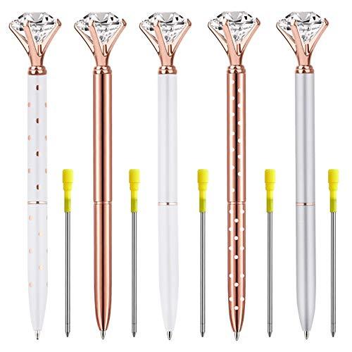 Ballpoint Pens, 5 PCS Big Diamond/Crystal Pen Rose Gold Metal Ball Pens Refillable Black Ink for Gift Desk Office Supplies Decor