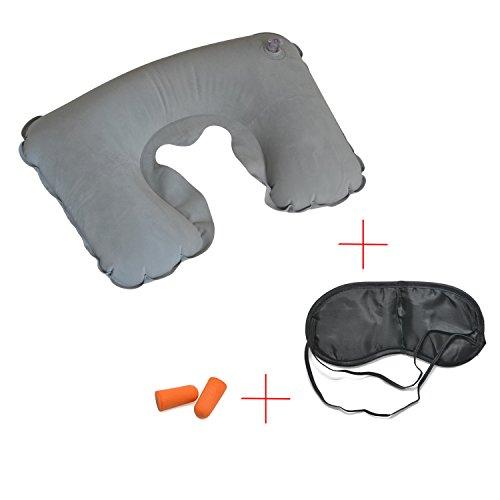 Grenhaven 3-in-1 Slaapreisset met opblaasbaar nekkussen, oogmasker, 1 paar oordopjes voor vliegtuig, auto of trein