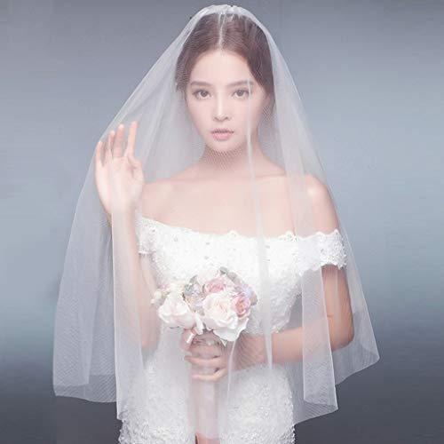 PLDXN Brautschleier der koreanischen weichen Mesh-Schleier 1 M 5 Langen Schleier Hochzeit Zubehör-weiße Spitze Einfache Nude Yarn Brautkleid Zubehör Europäische Retro Court Veil