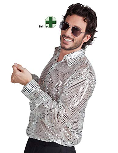 Karneval-Klamotten Paillettenhemd Disco-Hemd Pailletten Silber Herren MIT Disco-Brille Karneval Herrenkostüm
