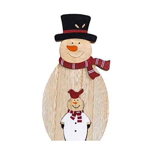 VOSAREA Holz Schneemann Handwerk Weihnachtsdekoration Ornament Weihnachtsfeier Desktop Ornament Geschenk für Weihnachten (Schneemann)