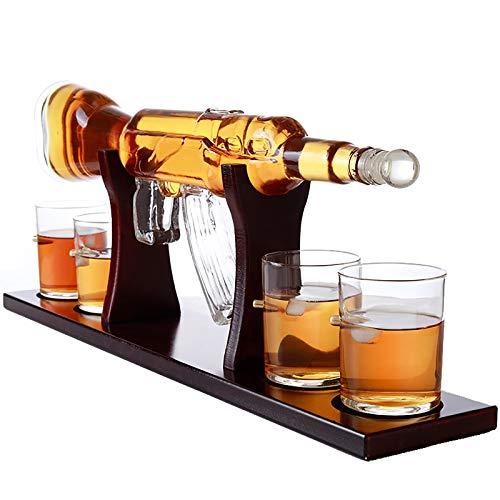 ZYGF Decantador de whisky, vasos de whisky, pistola con 4 vasos de whisky y base de madera de mooba, decantador de licor de vidrio para el día del padre