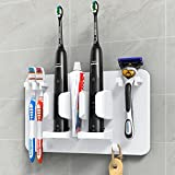 Mspan Toothbrush Razor Holder for Shower: Bathroom Accessories Organizer Wall Mounted Hanging Mount Shelf & Hooks for Loofah   Shaver   Toothpaste   Electric Toothbrush