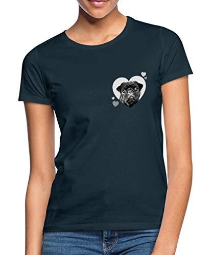 Mops Liebe Weißes Herz Frauen T-Shirt, S, Navy