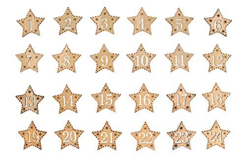 Rayher 46454616 Adventszahlen 1-24, 4,5 cm Ø, Holz-Sterne gold, für selbstgebastelte Adventskalender