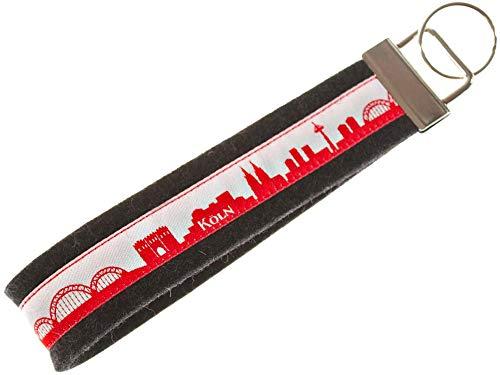 KÖLN Schlüsselband aus Filz | Skyline Köln in rot-Weiss | Geschenk für Damen und Herren | Filz 100% Wolle (Merinowolle)