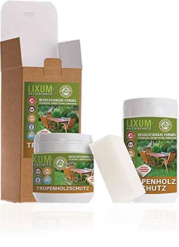 LIXUM TEAK Tropenholz HOLZSCHUTZ BIO (farblos) 1000 ml = 30m²  - natürlicher Langzeitschutz für Holz, hält bis zu 10 Jahren, nur 1 Anstrich nötig. Mit integriertem UV-Schutz und ohne Weichmacher.