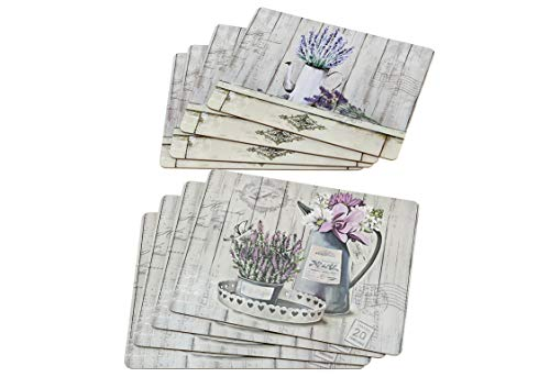 Boltze 1018617 Tischset Lavendel mit Kork, 4-teilig (1 Set)