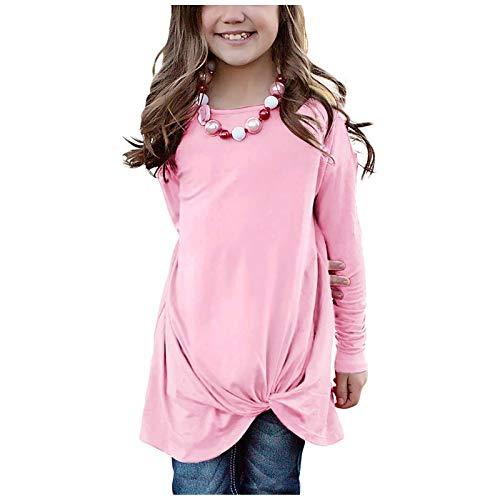 Janly Clearance Sale Camiseta de manga larga para niñas de 0 a 15 años, informal, para niñas y niñas, con nudo frontal, para chrismas de invierno de 4 a 5 años (rosa)