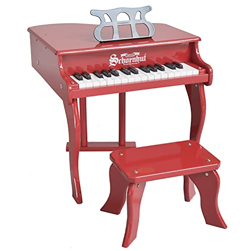 Schoenhut Fancy Baby Grand Piano for Kids - 30-Key Piano Keyboard with Bench - Musical Instruments Promote Hand-Eye Coordination - Red Piano for 3-12 Years Kids - Ideal Piano Toy for Gift