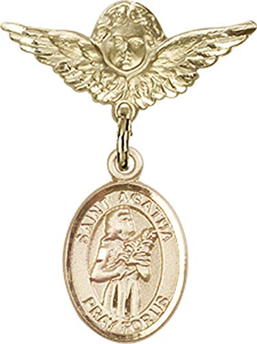 14kt Gold Baby Badge with St. Agatha Charm and Angel w/Wings Badge Pin St. Agatha is the Patron Saint of Nurses/Breast Cancer 1 X 3/4