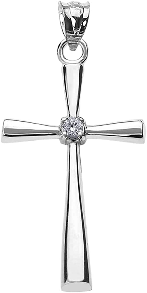 10K White Yellow Max 64% OFF or Rose Ranking TOP3 Solitaire Diamond Gold Accented Cross