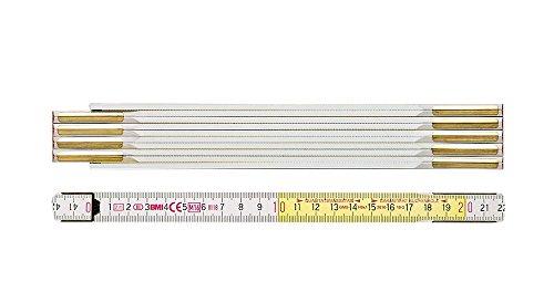 BMI 984914300WG Meterstab / Zollstock 9143WG   3 m langer Zollstab aus Buchenholz mit 10 Gliedern, verdeckte Nieten, vermessingte Stahlfedern   Länge: 3 Meter, Breite: 1,6 mm, Farbe: Weiß / Gelbe
