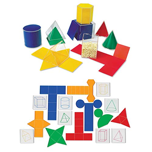 Learning Resources Folding Geometric Shapes Bundle, Math Class Accessories, 3-D and 2-D Concepts, Measurement, Area, Volume and Surface Area, 16 Pieces, Grades 2+, Ages 7+