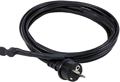 as - Schwabe Eis-Stop-Heizkabel – 2 m Frostschutz-Heizkabel inkl. Thermostat – 230 V, 50 / 60 Hz Heizleitung mit Schutzkontaktstecker – 15 W/m Wärmekabel gegen Frost – IP44 – Schwarz I 67010