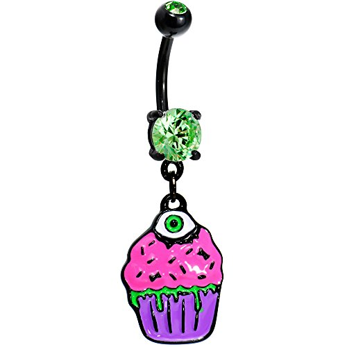 Body Candy Black Zombie Cupcake Dangle Belly Button Ring
