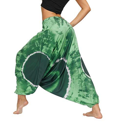 WGNNAA Damen Aladinhose Haremshose Sommerhose Pumphose Yoga Pilates Hosen Frauen Pluderhosen Tie-Dye Druken Freizeit Ballonhose Lose BohemienStil