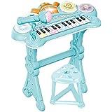 キッズ 可愛いピアノおもちゃ 電子ミニピアノ 音楽おもちゃ キーボード ミニキーボード 音楽玩具 子供ピアノ オモチャのピアノ知育玩具 誕生日 子供の日 鯉のぼり クリスマス プレゼント 多機能 (青)